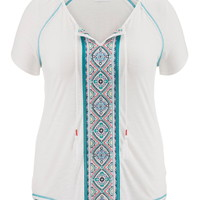 Plus Size - Embroidered Front Contrast Trim Tee - White