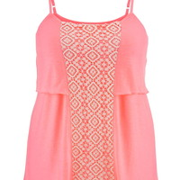 Plus Size - Lace Front Tiered Tank Top - Pink