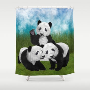 Panda Bear Cubs Love Shower Curtain by Apgme