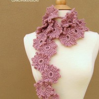 Laura  Dusty Rose Flower ScarfLariat by gsakowskidesigns on Etsy