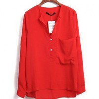 Red High Low Blouse with V Neckline