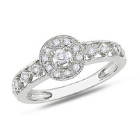 1/7 CT. T.W. Diamond Milgrain Promise Ring in 10K White Gold - View All Rings - Zales