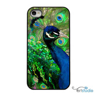 Green Blue Peacock Feather Black iPhone Case - IPhone 4 and 4s Hard Cover - Fun Bright Art Unique Trendy iPhone Case Cover - artstudio54