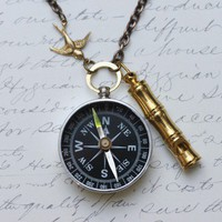 Compass Necklace Lost at Sea  Captains Whistle by madebymoe