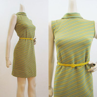 60s Dress Vintage Striped T-neck Scooter Mini Shift S M