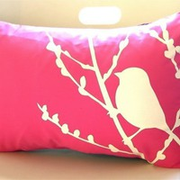 Hot Pink Bird on Cherry Blossom Pillow
