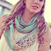 The kristin. a seafoam green and vintage lace circle scarf.