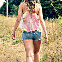 The free spirit. a vintage lace multi colored vest. boho. wild. OOAK.