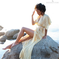 Bohemian wrap dress - Sheer silk chiffon maxi - Made to order / Alchemy - Resort Alternative wedding