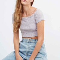 Cooperative Bardot Rib Crop Top in Pink - Urban Outfitters