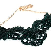 FOREST LACE NECKLACE /  lace vintage handmade 14k gold necklace / ft. green lace, 14 karat gold chain, wire, handmade clasp / gifts under 50