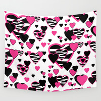Hot Pink Zebra Print Hearts Wall Tapestry by Decampstudios