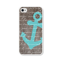 Anchor Apple iPhone 4 Case - Plastic iPhone 4s Case - Wood Nautical iPhone Case Skin - Turquoise Blue Brown White Cell Phone