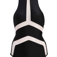 Black One Piece Swimsuit Swimwear with Mesh Details