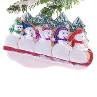Family of 5 snowmen ornament - personalized Christmas ornament - personalized family ornament