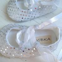 Awesome Silver Sequin Ballet Shoes For Your Baby Girl by BobkaBaby