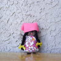 Soft fabric doll. Small doll. Handmade doll. Recycled fabric doll. Dark skin doll. Micro doll. Eco friendly toy. Children girl toy. Worry.