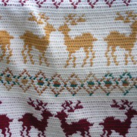 Crocheted Deer Afghan Colorful