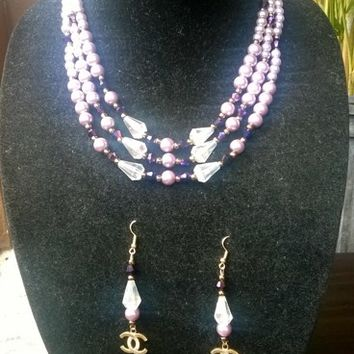 Outstanding Hollywood Glam Designer Inspired Pearl Necklace Set