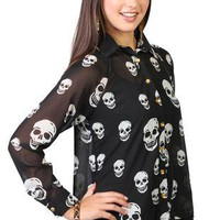 long sleeve button up skull print chiffon high low equipment shirt - debshops.com