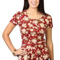 short sleeve floral print peplum top with belt - debshops.com
