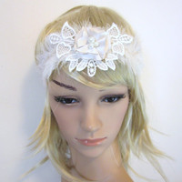 Ivory  feather and flower 1920s flapper  headband fascinator headpiece