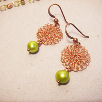 Lime green pearl earrings - Dangle Pearl Earrings - Lace wire crochet circle earrings - Israel art