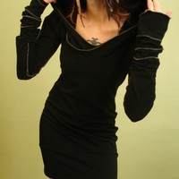 hooded tunic dress BLACK