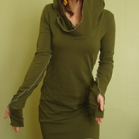 hooded tunic dress extra long sleeves w/thumb holes