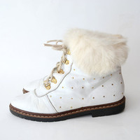 Vintage white studded lace up boots with rabbit fur