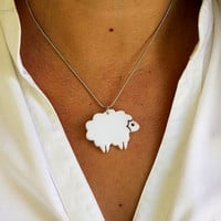 Mini Lamb Necklace,Plexiglass Jewelry,Lasercut Acrylic,Gifts Under 25