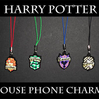 Harry Potter Hogwarts House Phone Charms by AriesNamarie on Etsy