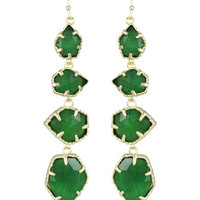 Niko Four-Drop Earrings, Green