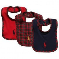 Pack of 3 Navy Blue & Red Cotton Baby Bibs