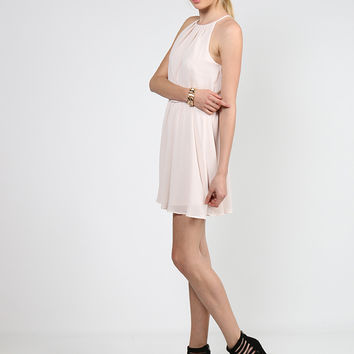 Flowy Chiffon High Neck Dress