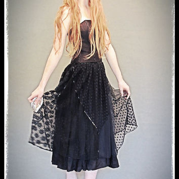 Vintage party gown / Black bustier cocktail sequin satin lace sheer gauze witchy gothic boned corset dress / Stevie Nicks bombshell