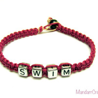 Swim Bracelet, Punk Pink Hemp Jewelry for Swimmers, Fitness Motivation Accessory