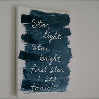 Blue nursery wall painting, star light sign