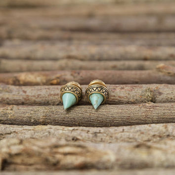 Taking My Time Turquoise Double Sided Cone Earrings