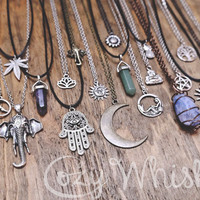 Boho Grunge Spiritual Hippie Hamsa Hand Sun Moon Crystal Rock Sunflower Elephant Buddha Om Pineapple Tattoo Charm Choker Chain Necklaces