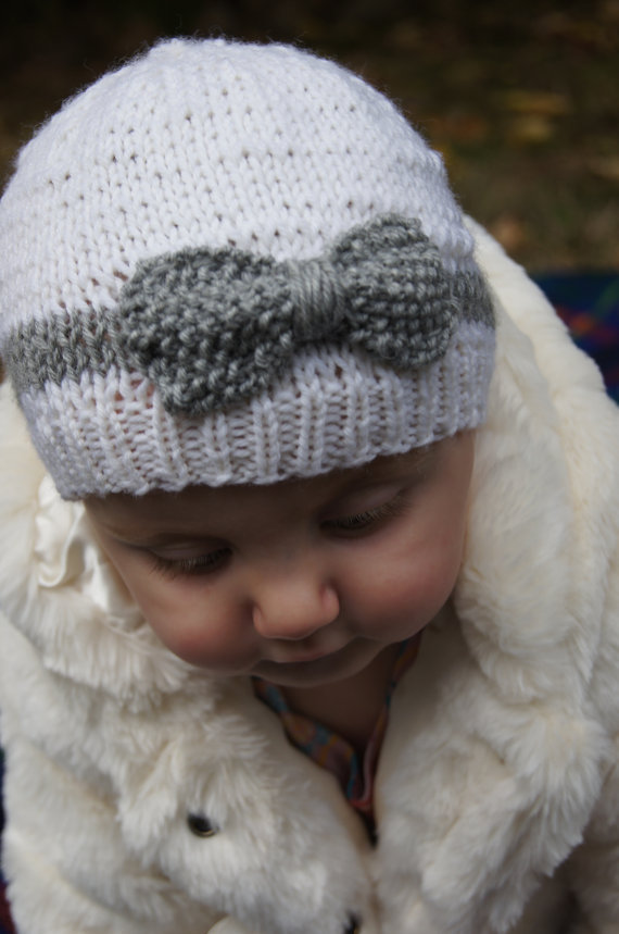 Hand Knit Baby Hat with Bow, White and from norahsnook1 on Etsy