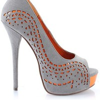 Gray + Orange Pump by Haute Soles