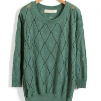 Diamond Knit Green Pullovers with Ribbed Trim