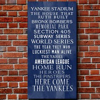 Yankees Bus Roll Baseball Wall Art Home decor sports 10x20 inch STOCK Typography Canvas