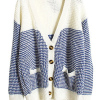 ROMWE | Color Block Single Breasted Blue Cardigan, The Latest Street Fashion