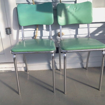2 Howell Vintage Vinyl and Chrome Chairs