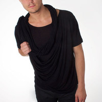 Rochambeau: Drape Side Shirt Black, at 58% off!