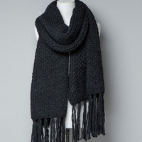 CHUNKY KNIT SCARF WITH FRINGES - Scarves - Accessories - Woman - ZARA United States