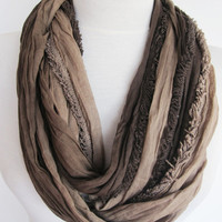 Brown / Beige Cotton Infinity Scarf, Loop Scarf, Christmas, Gift, Cowl