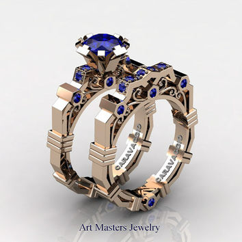 Caravaggio Modern 14K Rose Gold 1.0 Ct Blue Sapphire Engagement Ring Wedding Band Set R624S-14KRGBS